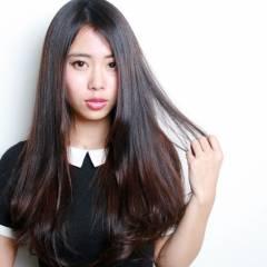 ロング 黒髪 かわいい ナチュラル ヘアスタイルや髪型の写真・画像