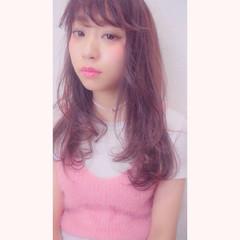 ガーリー モテ髪 フェザーバング ロング ヘアスタイルや髪型の写真・画像