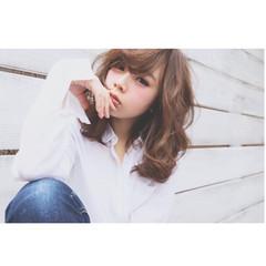 ミディアム 前髪あり 暗髪 大人女子 ヘアスタイルや髪型の写真・画像