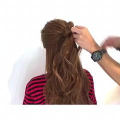 フェミニン ロング リラックス 簡単ヘアアレンジ ヘアスタイルや髪型の写真・画像