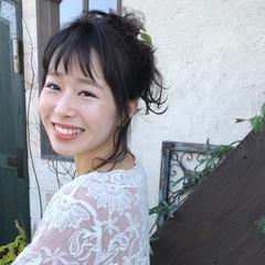 アッシュ ヘアアレンジ ミディアム デート ヘアスタイルや髪型の写真・画像