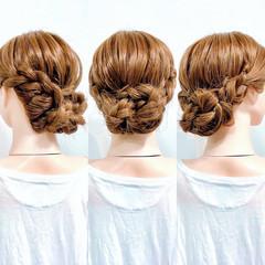 アップスタイル 三つ編み ヘアセット フェミニン ヘアスタイルや髪型の写真・画像