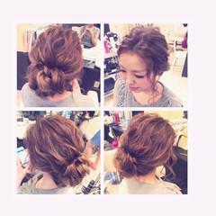 ねじり ヘアアレンジ ルーズ セミロング ヘアスタイルや髪型の写真・画像