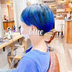 インナーブルー ベリーショート ブルー ストリート ヘアスタイルや髪型の写真・画像