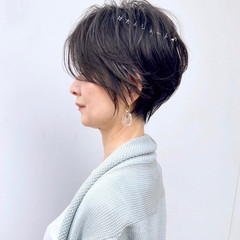 ショートカット ミニボブ ショート フェミニン ヘアスタイルや髪型の写真・画像
