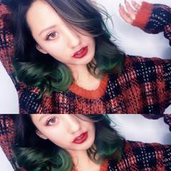 外国人風 グラデーションカラー 渋谷系 暗髪 ヘアスタイルや髪型の写真・画像