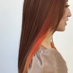モード ロング インナーカラー ヘアスタイルや髪型の写真・画像