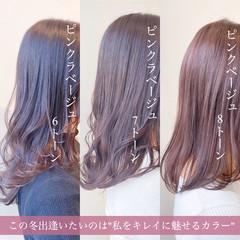 セミロング バイオレットアッシュ ピンクラベンダー ラベンダーピンク ヘアスタイルや髪型の写真・画像