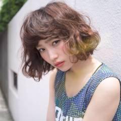 ストリート グラデーションカラー ボブ 外国人風 ヘアスタイルや髪型の写真・画像