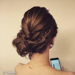 編み込み 愛され まとめ髪 アップスタイル ヘアスタイルや髪型の写真・画像