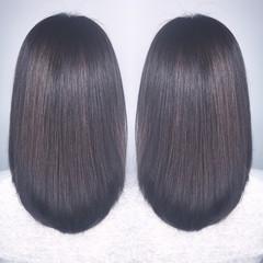 ストレート アッシュ 黒髪 セミロング ヘアスタイルや髪型の写真・画像