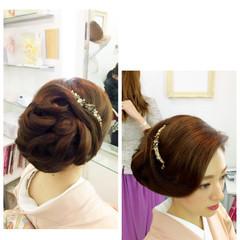 セミロング ヘアアレンジ 大人女子 和装 ヘアスタイルや髪型の写真・画像