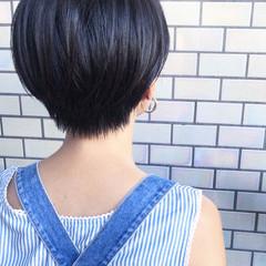 ショート ベリーショート 黒髪 小顔ショート ヘアスタイルや髪型の写真・画像