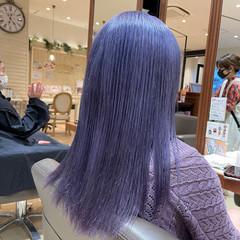 ストリート 韓国 ブルーラベンダー セミロング ヘアスタイルや髪型の写真・画像