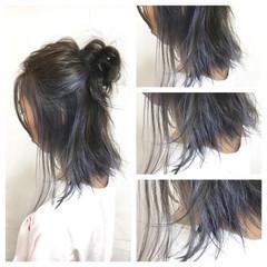 ラベンダーアッシュ ミディアム アッシュ インナーカラー ヘアスタイルや髪型の写真・画像