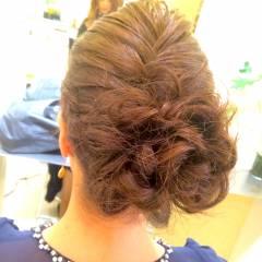 パーティ 結婚式 編み込み ヘアアレンジ ヘアスタイルや髪型の写真・画像