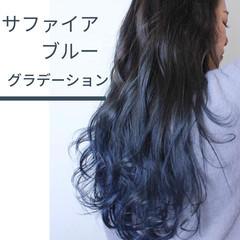 ブリーチ グラデーションカラー ナチュラル セミロング ヘアスタイルや髪型の写真・画像