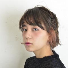 編み込み 簡単ヘアアレンジ ヘアアレンジ ピンク ヘアスタイルや髪型の写真・画像