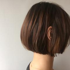 透明感 ショートボブ ワンレングス ナチュラル ヘアスタイルや髪型の写真・画像