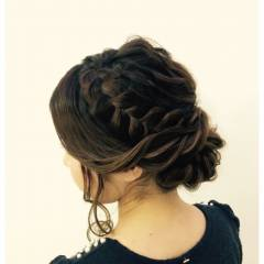 ヘアアレンジ アップスタイル 編み込み コンサバ ヘアスタイルや髪型の写真・画像