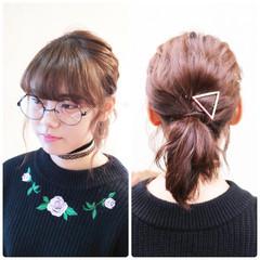 ボブ ガーリー 簡単ヘアアレンジ フェミニン ヘアスタイルや髪型の写真・画像