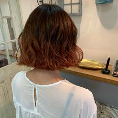 裾カラーオレンジ ボブ ブリーチ ナチュラル ヘアスタイルや髪型の写真・画像