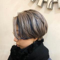インナーカラー グラデーションカラー ハンサムショート ショート ヘアスタイルや髪型の写真・画像