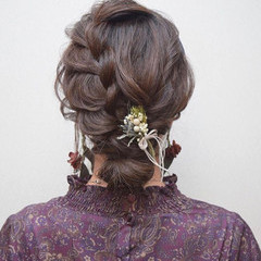 ロング 簡単ヘアアレンジ デート 黒髪 ヘアスタイルや髪型の写真・画像