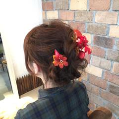 アッシュ ミディアム ヘアアレンジ ゆるふわ ヘアスタイルや髪型の写真・画像