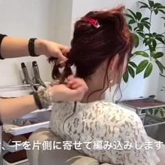 フェミニン ミディアム 大人かわいい 編み込み ヘアスタイルや髪型の写真・画像