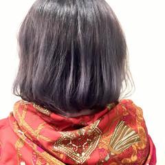 バレイヤージュ ボブ グレー 外国人風 ヘアスタイルや髪型の写真・画像