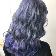 ラベンダーグレージュ パープルカラー ガーリー パープルアッシュ ヘアスタイルや髪型の写真・画像