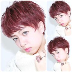 ショート ピンク 外国人風 レッド ヘアスタイルや髪型の写真・画像