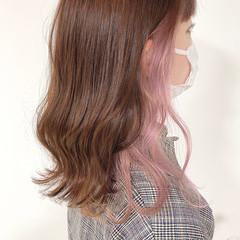 ラベンダー ナチュラル ピンク イヤリングカラー ヘアスタイルや髪型の写真・画像