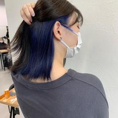 ストリート インナーブルー ネイビーブルー ミディアム ヘアスタイルや髪型の写真・画像