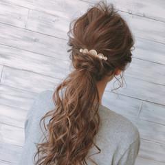 ナチュラル 簡単 ポニーテール ヘアアレンジ ヘアスタイルや髪型の写真・画像