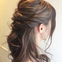 簡単ヘアアレンジ セミロング ハーフアップ ショート ヘアスタイルや髪型の写真・画像
