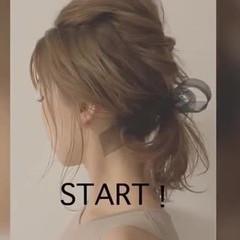 簡単ヘアアレンジ ヘアアレンジ ミディアム ローポニーテール ヘアスタイルや髪型の写真・画像