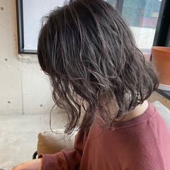 デジタルパーマ アッシュベージュ ボブ ベージュ ヘアスタイルや髪型の写真・画像