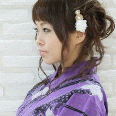 お祭り セミロング 夏 和装 ヘアスタイルや髪型の写真・画像