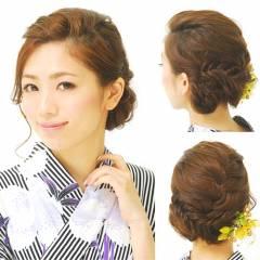 編み込み お祭り 夏 大人かわいい ヘアスタイルや髪型の写真・画像