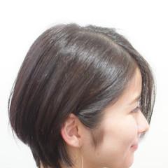ナチュラル 耳掛けショート ショート ミニボブ ヘアスタイルや髪型の写真・画像