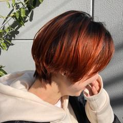 ストリート アプリコットオレンジ ショート オレンジ ヘアスタイルや髪型の写真・画像