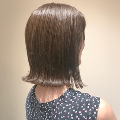 透明感カラー ミルクティーアッシュ ボブ ブリーチなし ヘアスタイルや髪型の写真・画像