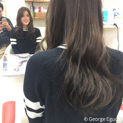 暗髪 ロング ストレート ナチュラル ヘアスタイルや髪型の写真・画像