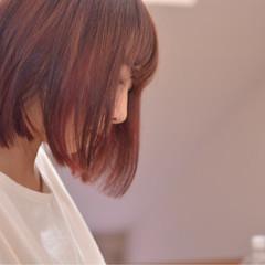 透明感 切りっぱなし インナーカラー ナチュラル ヘアスタイルや髪型の写真・画像