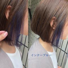ナチュラル ショート インナーカラー ボブ ヘアスタイルや髪型の写真・画像