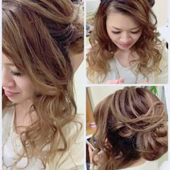 ヘアアレンジ お団子 ハーフアップ 結婚式 ヘアスタイルや髪型の写真・画像