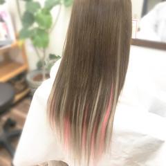 ロング ガーリー エクステ ダブルカラー ヘアスタイルや髪型の写真・画像