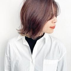 ナチュラル 前髪 大人ヘアスタイル ミディアム ヘアスタイルや髪型の写真・画像